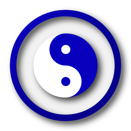 Ying yang icon. Blue internet button on white background. photo