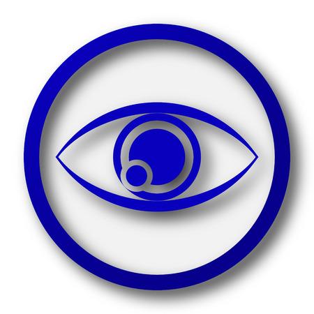 optician: Eye icon. Blue internet button on white background. Stock Photo