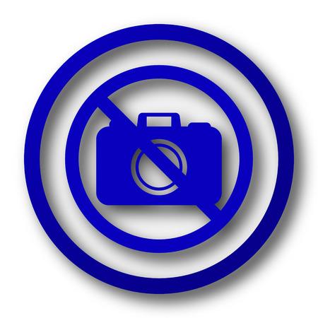 Forbidden camera icon. Blue internet button on white background. photo