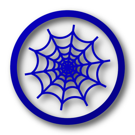 spider web icon: Spider web icon. Blue internet button on white background. Stock Photo