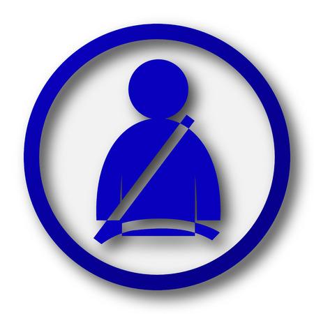 cinturon seguridad: Icono del cinturón de seguridad. Botón azul Internet sobre fondo blanco. Foto de archivo