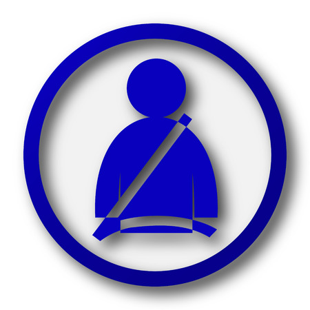 safety belt: Safety belt icon. Blue internet button on white background. Stock Photo