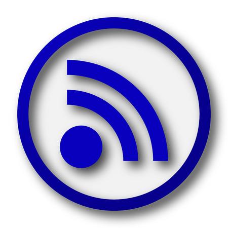 meta: Rss sign icon. Blue internet button on white background.