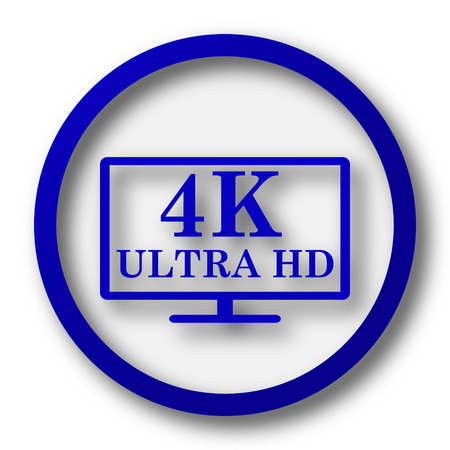 4K ultra HD icon. Blue internet button on white background. photo