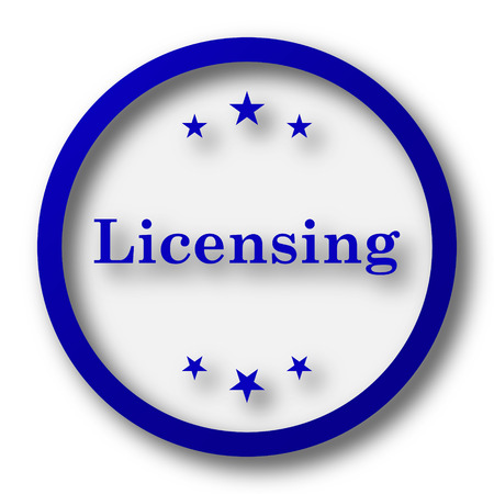 licensing: Licensing icon. Blue internet button on white background.