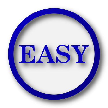 Easy icon. Blue internet button on white background.