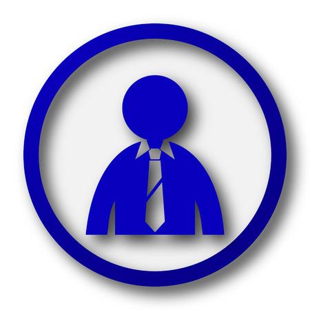 Business man icon. Blue internet button on white background.
