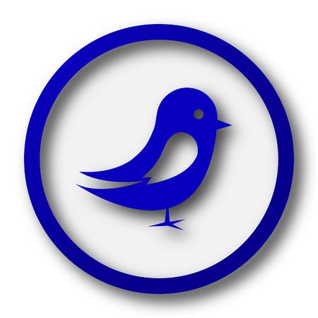 tweet icon: Bird icon. Blue internet button on white background.
