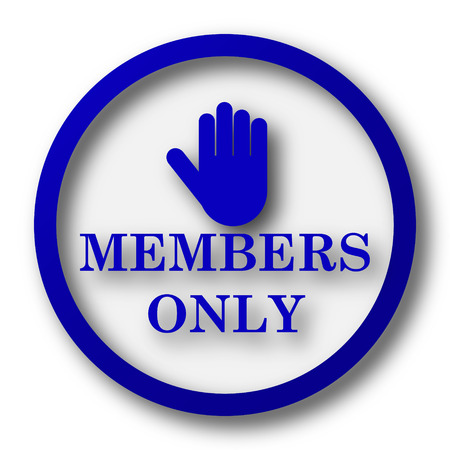 Members only icon. Blue internet button on white background. photo