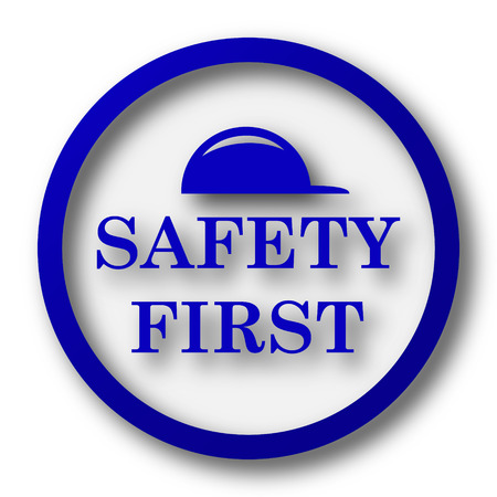 cautionary: Safety first icon. Blue internet button on white background.