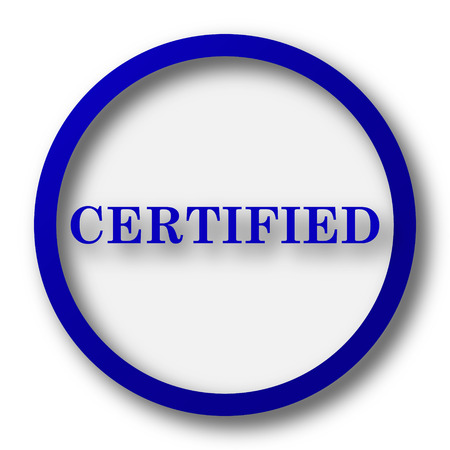 approval button: Certified icon. Blue internet button on white background.
