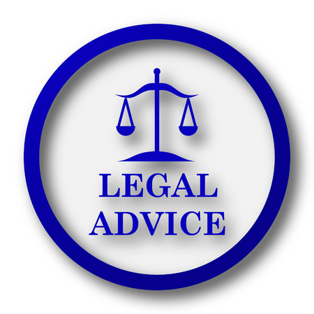 Legal advice icon. Blue internet button on white background. photo