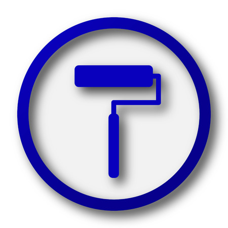 blue roller: Roller icon. Blue internet button on white background.