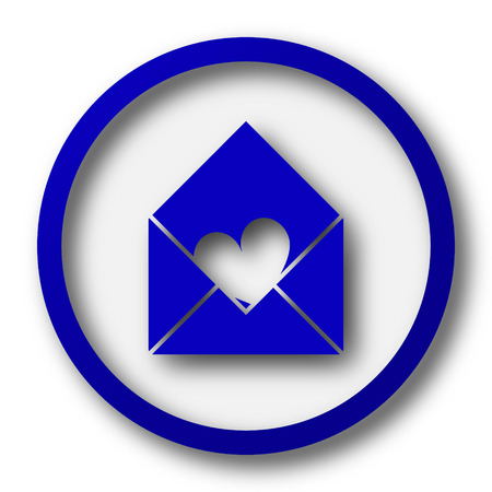 blue send: Send love icon. Blue internet button on white background. Stock Photo