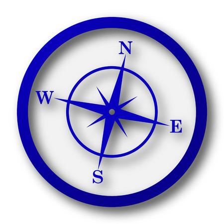 Compass icon. Blue internet button on white background. photo