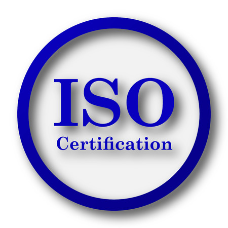 certification: ISO certification icon. Blue internet button on white background. Stock Photo