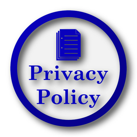 Privacy policy icon. Blue internet button on white background.