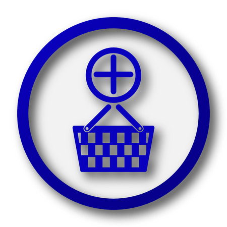 add button: Add to basket icon. Blue internet button on white background. Stock Photo