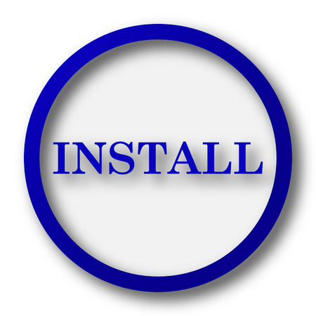 operative: Install icon. Blue internet button on white background.