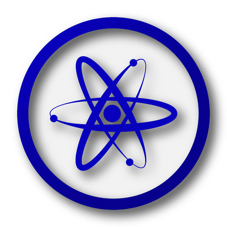 atomic symbol: Atoms icon. Blue internet button on white background.