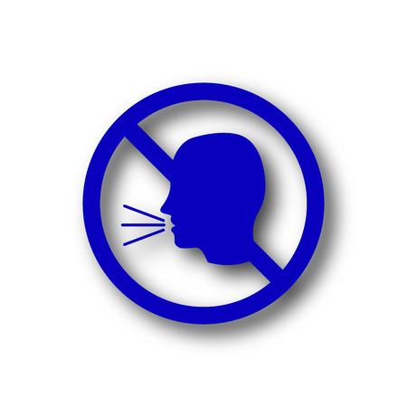 noisily: No talking icon. Blue internet button on white background.