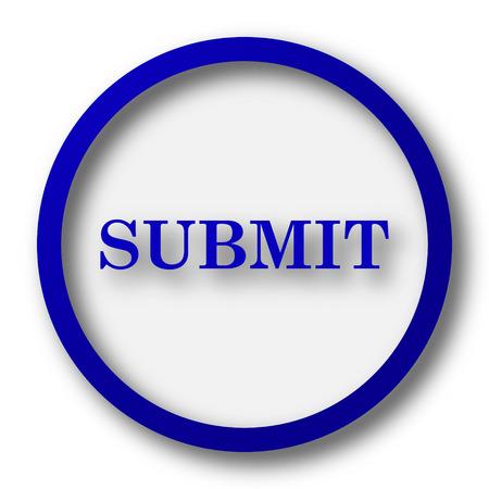 submit: Submit icon. Blue internet button on white background. Stock Photo