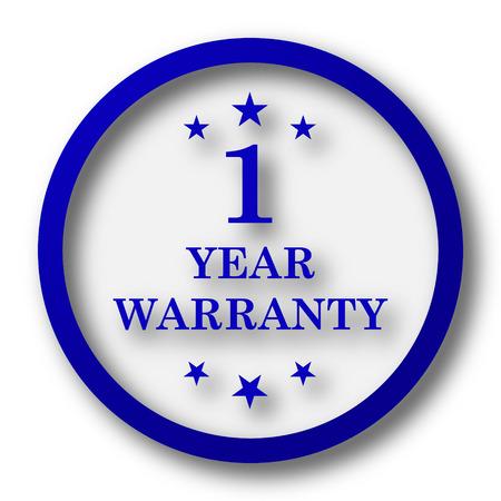 one year warranty: 1 year warranty icon. Blue internet button on white background.