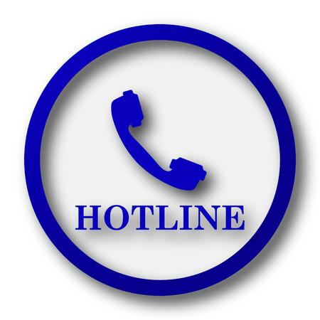 hotline: Hotline icon. Blue internet button on white background.