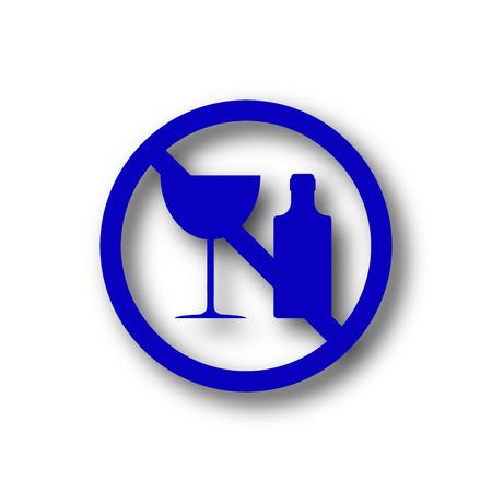 No alcohol icon. Blue internet button on white background. photo