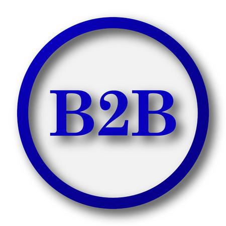 b2b: B2B icon. Blue internet button on white background. Stock Photo