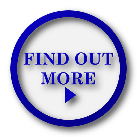 find out: Find out more icon. Blue internet button on white . Stock Photo