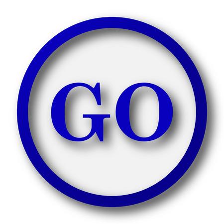 go button: GO icon. Blue internet button on white background.