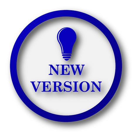 version: New version icon. Blue internet button on white background.