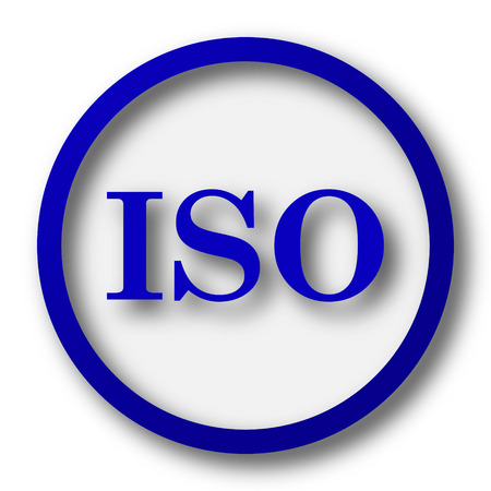 norm: ISO icon. Blue internet button on white background. Stock Photo