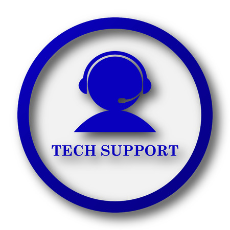 support services: Tech support icon. Blue internet button on white background. Stock Photo