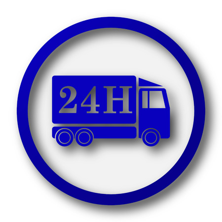 24h: 24H delivery truck icon. Blue internet button on white background. Stock Photo