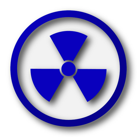 nuke: Radiation icon. Blue internet button on white background. Stock Photo