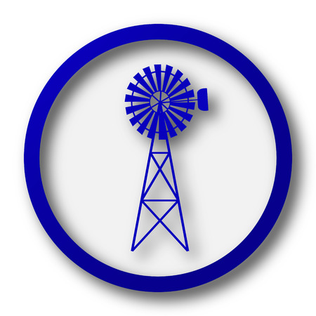 alternate: Classic windmill icon. Blue internet button on white background.
