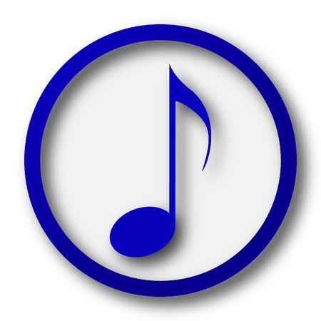 melodic: Musical note icon. Blue internet button on white background.