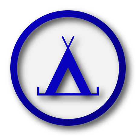 3d bungalow: Tent icon. Blue internet button on white background.