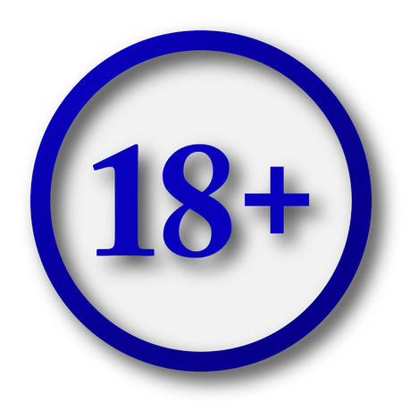 information technology law: 18 plus icon. Blue internet button on white background.