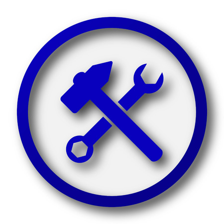 addition symbol: Tools  icon. Blue internet button on white background.