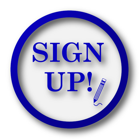 sign up icon: Sign up icon. Blue internet button on white background.