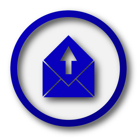 blue send: Send e-mail icon. Blue internet button on white background.