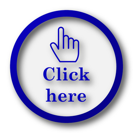 klik: Klik hier pictogram. Blauwe knop internet op een witte achtergrond.