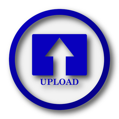 moving site: Upload icon. Blue internet button on white background.