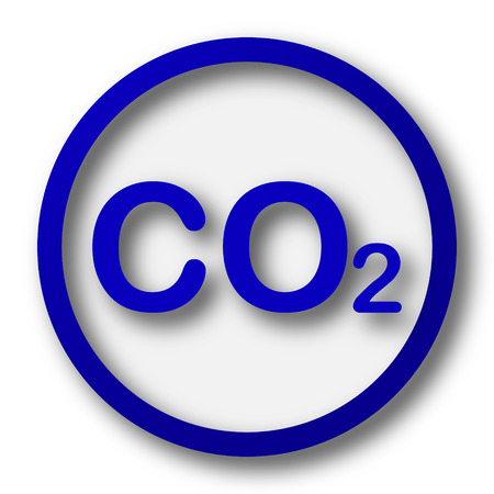 oxygen transport: CO2 icon. Blue internet button on white background. Stock Photo