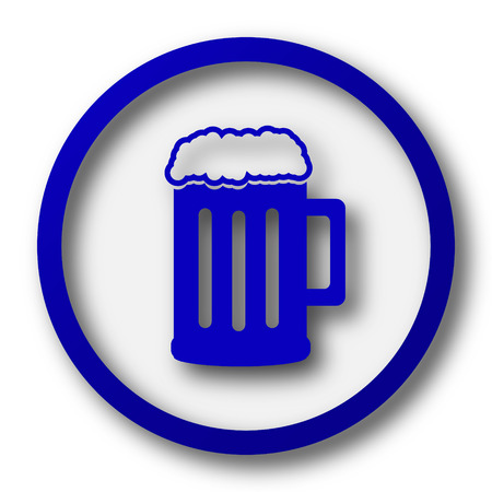 Beer icon. Blue internet button on white background.