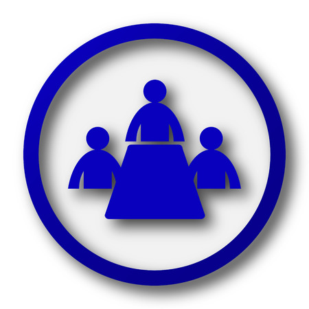 Meeting room icon. Blue internet button on white background. photo
