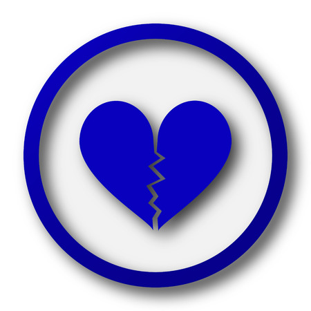 sentimental: Broken heart icon. Blue internet button on white background. Stock Photo